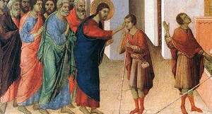 Исцеление слепорожденного (фрагмент). Начало XIV века. Дуччо ди Буонинсенья
