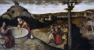 Христос и самаритянка у колодца (фрагмент). Лукас Кранах Старший. Ок. 1552-88