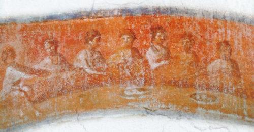 Агапа — трапеза любви. Фреска из катакомбы св. Присциллы, Рим, II век